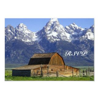 "Rustic Barn Rocky Mountain Wedding RSVP Cards 3.5"" X 5"" Invitation Card"