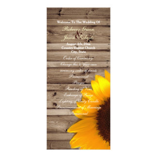 rustic barn sunflower country wedding programs customized rack card