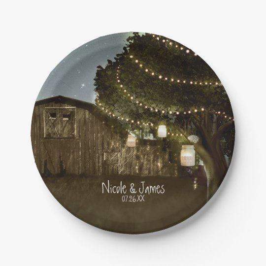 Rustic Barn & Tree Lights Wedding Paper Plates 7 Inch Paper Plate