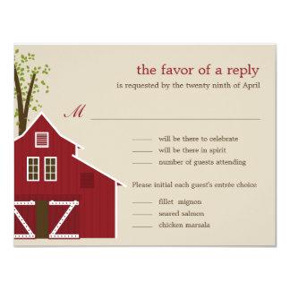 Rustic Barn Wedding RSVP Card Invite