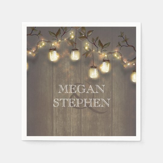 Rustic Barn Wedding String Lights Mason Jars Paper Napkins