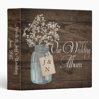 Rustic Barn Wedding Wood Mason Jar Babys Breath 3 Ring Binders