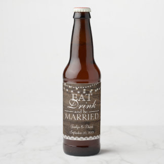 Rustic Barn Wedding Wood Mason Jar Babys Breath Beer Bottle Label