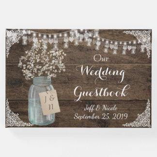 Rustic Barn Wedding Wood Mason Jar Babys Breath Guest Book