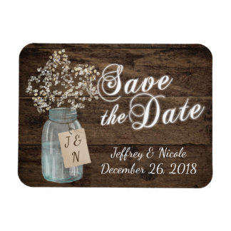 Rustic Barn Wedding Wood Mason Jar Babys Breath Magnet