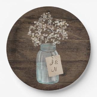 Rustic Barn Wedding Wood Mason Jar Babys Breath Paper Plate