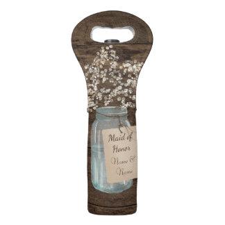 Rustic Barn Wedding Wood Mason Jar Babys Breath Wine Bag