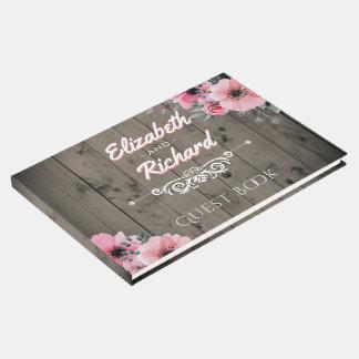 Rustic Barn Wedding Wood Pink Flowers Guest Book