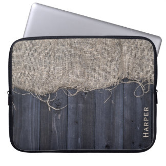 Rustic Barn Wood and Burlap Pattern with Name Laptop Sleeve