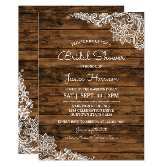 Rustic Barn Wood and Lace Bridal Shower Invitation