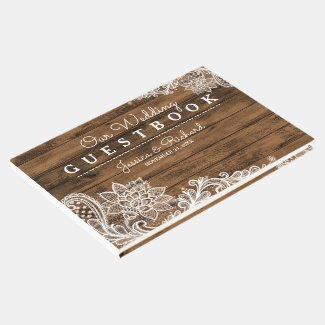 Rustic Barn Wood and Lace Guest Book