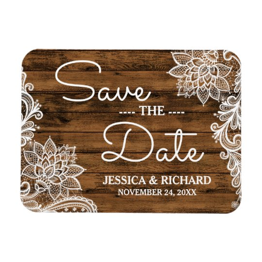Rustic Barn Wood and Lace | Save the Date Rectangular Photo Magnet