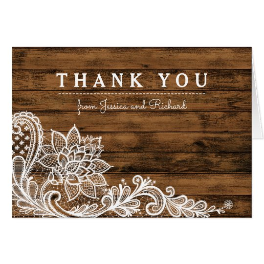 Rustic Barn Wood and Lace Thank You Card