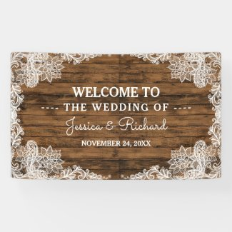 Rustic Barn Wood and Lace Wedding Banner