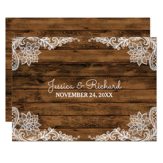 Rustic Barn Wood and Lace Wedding Favour Card