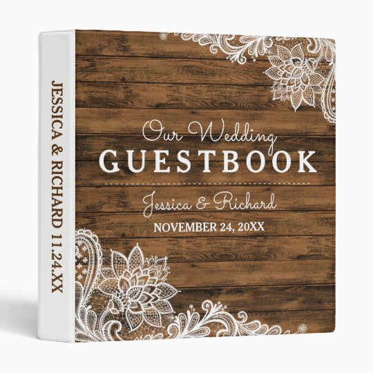 Rustic Barn Wood and Lace Wedding Guestbook Vinyl Binders