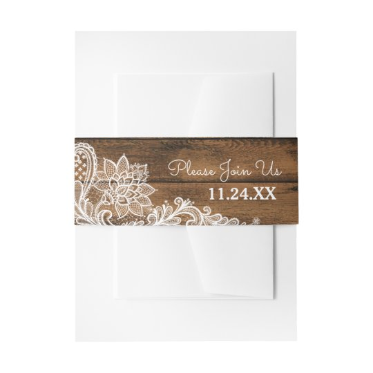 Rustic Barn Wood and Lace | Wedding Invitation Belly Band