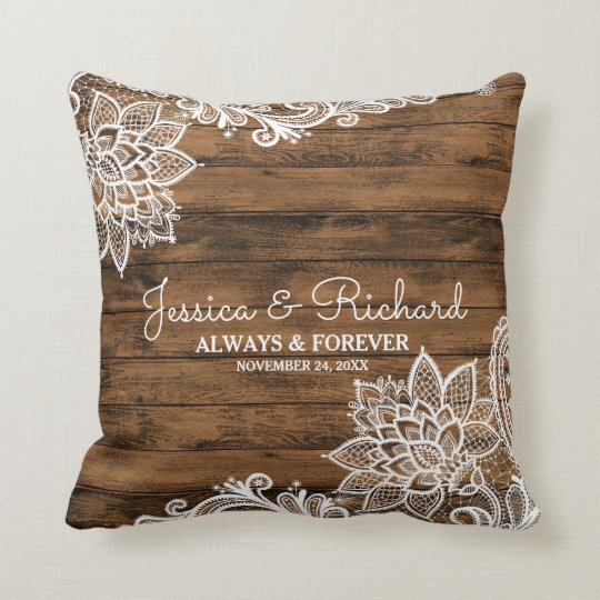Rustic Barn Wood and Lace Wedding Pillow