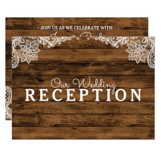 Rustic Barn Wood and Lace Wedding Reception Card