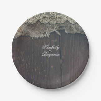 Rustic Barn Wood and Shabby Burlap Lace Old Paper Plate