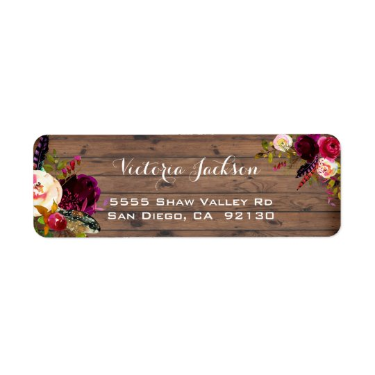 Rustic Barn Wood Boho floral address label