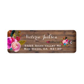 Rustic Barn Wood Boho floral address label