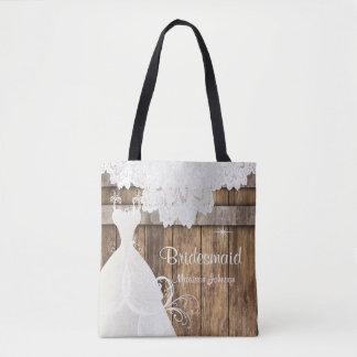Rustic Barn Wood Bridal Shower Design Tote Bag