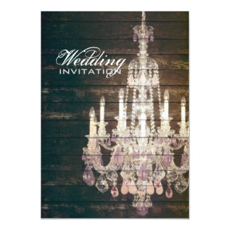 Rustic Barn Wood Chandelier wedding Card