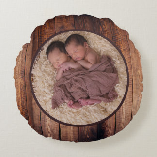 Rustic Barn Wood Circle Family Photo & Name Round Pillow