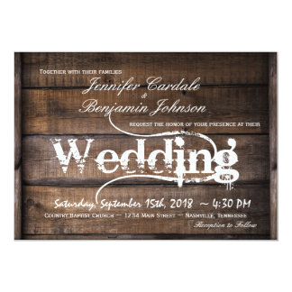 Rustic Barn Wood Country Wedding Invitations