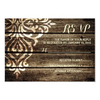 "Rustic Barn Wood Damask Vintage Wedding RSVP Card 3.5"" X 5"" Invitation Card"