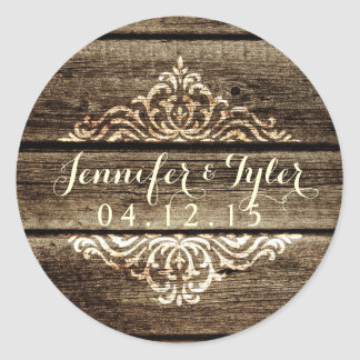 Rustic Barn Wood Damask Vintage Wedding Sticker