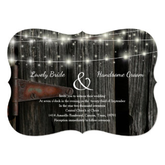 Rustic Barn Wood Fairy Lights Wedding Invite