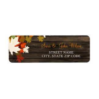 Rustic Barn Wood Fall Wedding address labels