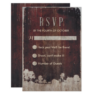 Rustic Barn Wood Farm Wedding RSVP Card