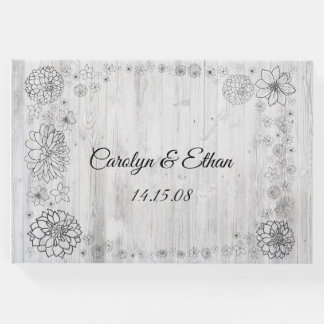 Rustic barn wood floral guest book