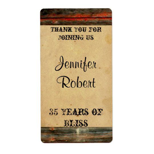 Rustic Barn Wood Graffiti Anniversary Wine Label