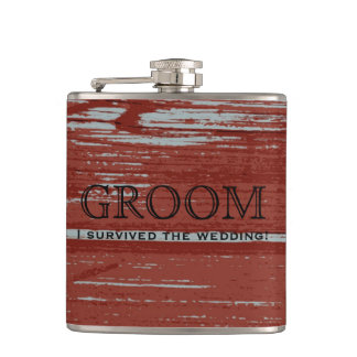 Rustic Barn Wood | Groom Country Wedding Gift Hip Flask