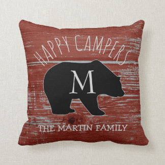 Rustic Barn Wood | Happy Campers Bear Monogram Throw Pillow