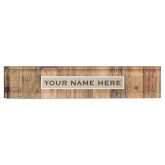 Rustic Barn Wood & Kraft Personalized Name Plate