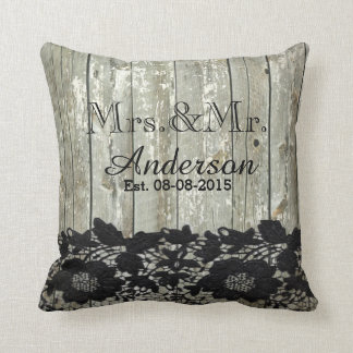 rustic barn wood  lace country wedding mr and mrs throw pillow