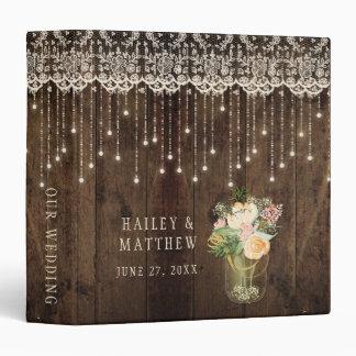 Rustic Barn Wood Lace Mason Jar Lights Wedding 3 Ring Binders