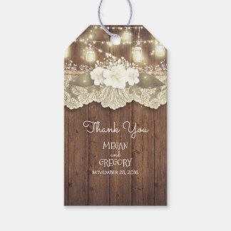 Rustic Barn Wood Lace Mason Jar Lights Wedding Gift Tags