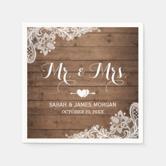 Rustic Barn Wood Lace Mr. and Mrs. Wedding Paper Napkins