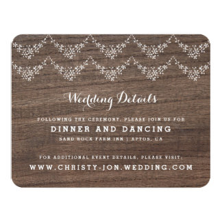 Rustic Barn Wood Lace Reception Information Card