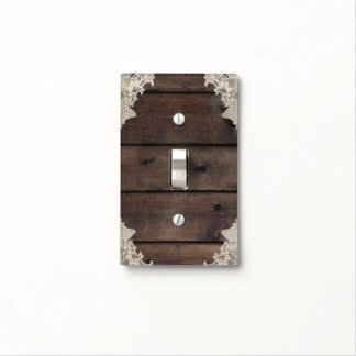Rustic Barn Wood & Lace Romantic Elegant Bedroom Light Switch Cover