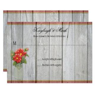 Rustic Barn Wood Mason Jar Red Dahlias RSVPs Card