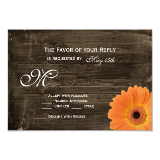 "Rustic Barn Wood Orange Daisy Wedding RSVP Cards 3.5"" X 5"" Invitation Card"