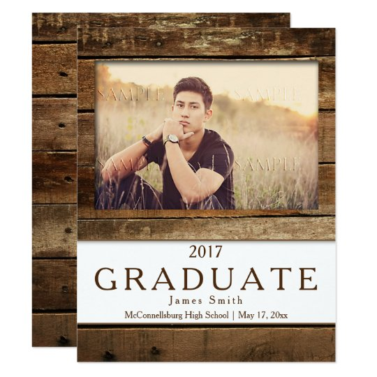 Rustic Barn Wood Photo Graduation Announcement