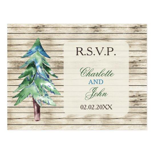 Rustic Barn Wood Pine Wedding Postcard